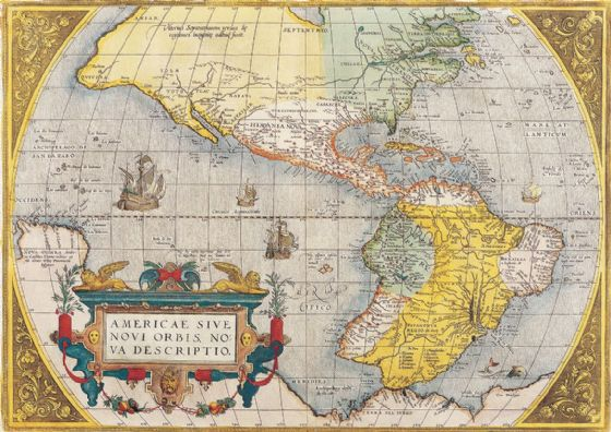 Ortelius, Abraham: Map of the Americas. Antique/Vintage Map. Fine Art Print/Poster. Sizes: A4/A3/A2/A1 (003901)